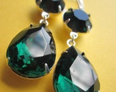Items Similar To Emerald Green Earrings Estate Style