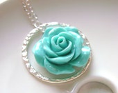Tiffany Blue Necklace with eternity ring and carved rose flower, Bridal jewelry, bridesmaids gift, weddign jewelry.