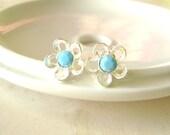 Silver Flower Post Stud earrings, Swarovski turquoise stone