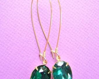 Emerald Green Dangle Earrings in Gold like Drew Barrymore Cover Girl Ad