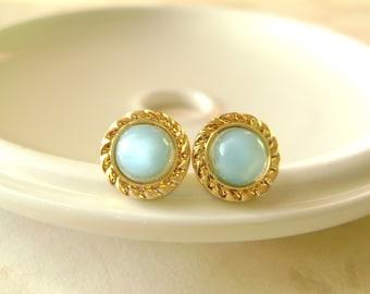 Aqua Moonstones Blue Post Stud earrings Gold Rope Framed Stone