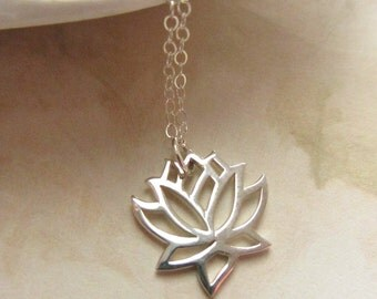 Sterling Silver Necklace with Open Lotus Flower Charm, Minimal Collection, Yoga, Modern