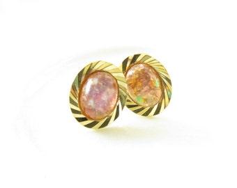 Fire Opal Oval Post Stud earrings Gold Rope Framed Stone