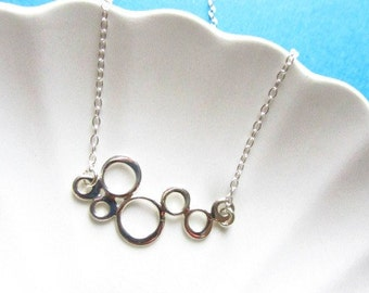 Sterling Silver Necklace with bubbles link, Minimal Collection, bridesmaid gift, bridal jewelry