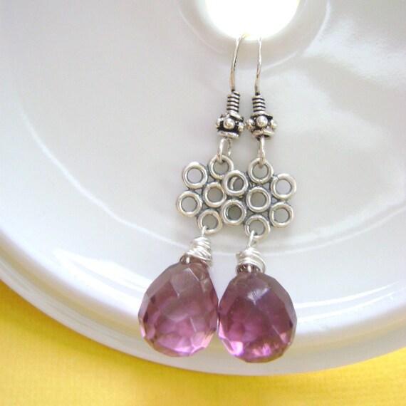 Amethyst Purple Earrings briolette and Sterling silver bubbles