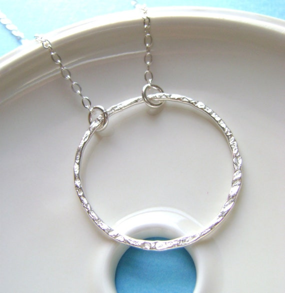 Sterling Silver eternity Necklace, big circle, wedding jewelry, bridesmaid gift, bridal