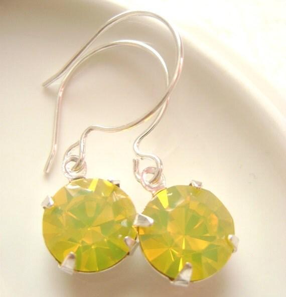 Yellow Opal Swarovski stone Silver earrings, bridesmaid gift, Wedding earrings