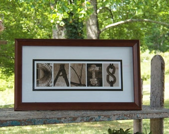 Sepia Personalized Alphabet Photography Framed Art 7.5 x14.5 by Letter Pictures