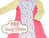 Sunshine Dress Sewing Pattern - Printable PDF - Girls Sizes 2 through 8 - Long and short sleeve