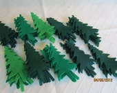 Evergreen Felt Trees- 50  Piece Die Cut Felt Trees- Green Pine Trees- Nature Green Trees-Quiet Book Shapes-Scrapbook Embellishments