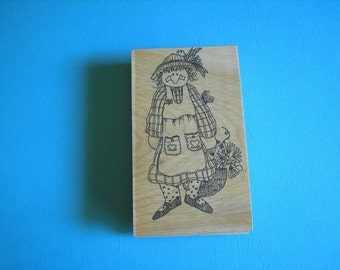 Garden Girl Stamp- Sally Rubber Stamp-Gardening Girl Stamp
