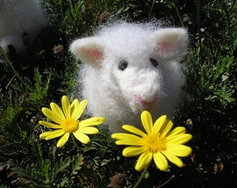 Frisky The Needle Felted Wool Lamb-Easter Lamb Felted-Handmade Felted Sheep-Easter Decorations-Baptism Gift