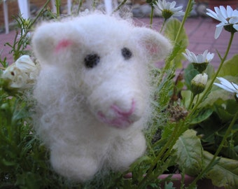 Needle Felted Wool Lamb - Patty-Handmade Sheep-Easter Decorations-Baby Decoration-Needle Felted Gift-Women's Gift-Spring Decor