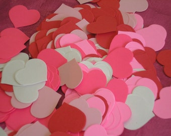 """Pre-cut paper hearts-300 pink- white- red paper HEARTS-1-1/4"""" cardstock weight paper hearts.  Valentine Confetti-Wedding Decor"""
