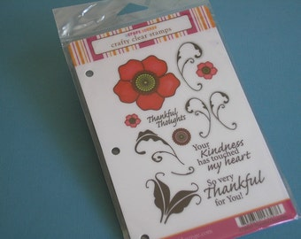 Thankful Flourishes Rubber Stamp Set-Cling Rubber Stamps-Floral-Swirl-Grateful-Gratitude
