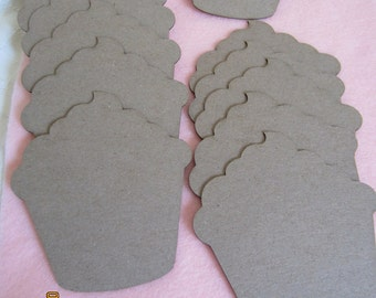 Cupcake Chipboard Blanks - DIY Crafts- Shapes for Decorating- Cupcakes Unfinished-Alterable-Birthday Party Garland Decor