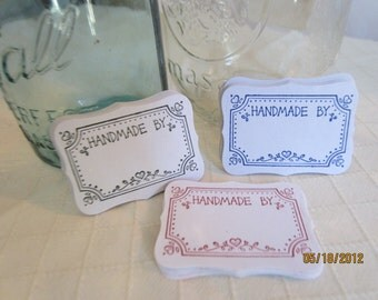 Handmade By Canning Jar Labels-Canning Stickers-Gift Wrap Stickers-Hand Stamped Canning Jar Labels-Wedding Favors