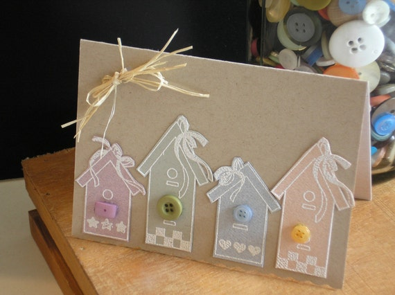 Handmade Birdhouse Card in Pastel Colors -Buttons