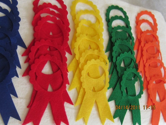 DIY Colored Felt Award Ribbons-Prize Ribbons-Assorted Color Award Ribbons-Felt Ribbons