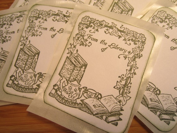 Handmade Bookplate - Tea Themed - From The Library Of