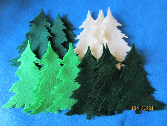 DIY Christmas Ornaments- Felt Tree Die Cuts -Quiet Books- Pine Trees Felt Pieces-Felt Embellishments-Appliques