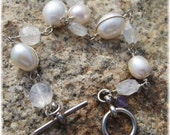 White freshwater rice pearl and moonstone wire wrap links sterling silver bracelet.