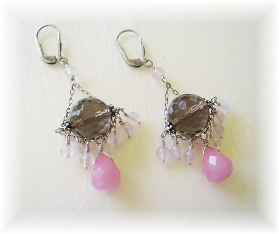 Smoky quartz , rose quartz and pink jade antiqued sterling silver chandelier earring