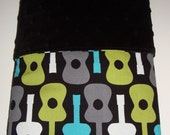 Groovy Guitar Minky Security Blanket