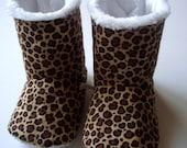 Leopard Print Vegan Non-Slip Slipper Boots