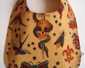 Tattoo Skull Mermaid Rockabilly Punk Rocker Baby Bib