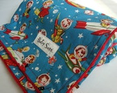 Retro Rocket Rascal Blue and Red Minky Blanket- Made to Order