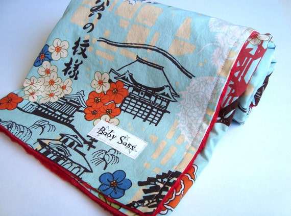 Japanese Koto Cherry Blossom Kimono Minky Blanket- Made to Order