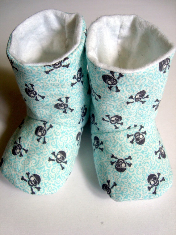 Pirate Skull Baby Booties Size 2- Ready To Ship