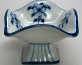 Small Blue and White Footed Dish