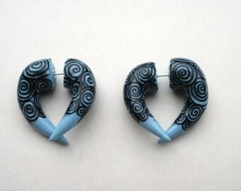 THE ORIGINAL Cloud Swirl Fake Gauge Earring - Ice Blue - Alternative - Piercing