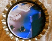 CLEARANCE-Blue Electric Guitar bottle cap magnet