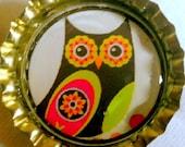 Kitschy Cool Retro Owl bottle cap magnet