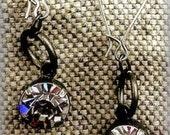 Clearance Industrial Inspired Big Dangle Rhinestone Earrings