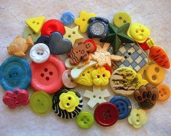 CLEARANCE Assortment of 45 colorful, whimsical buttons