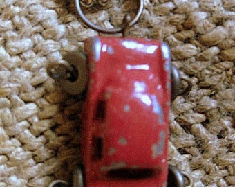 Old metal Red Truck pendant with chain