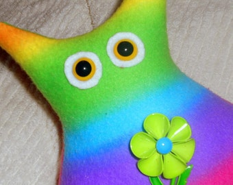 CLEARANCE- Donna the Groovy Chick Owl rainbow fleece with retro flower brooch Owl Plushie