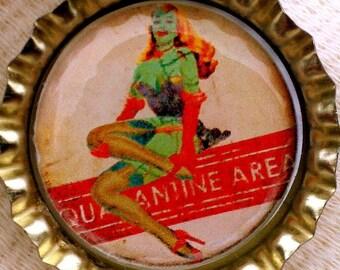 Quarantine Area Zombie Pin Up Girl bottle cap magnet