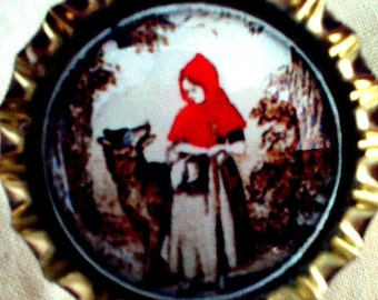 Little Red Riding Hood and Wolf bottle cap magnet