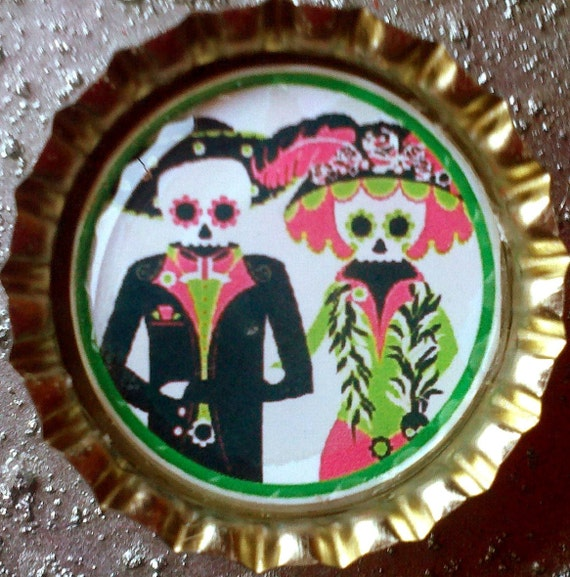 Charming Pink and Green Day of the Dead Skeletons bottle cap magnet