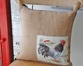 Burlap pillow cover with roosters