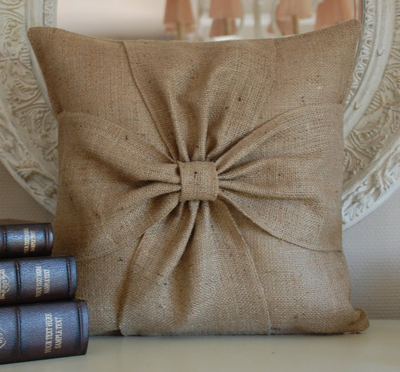 Burlap bow pillow cover