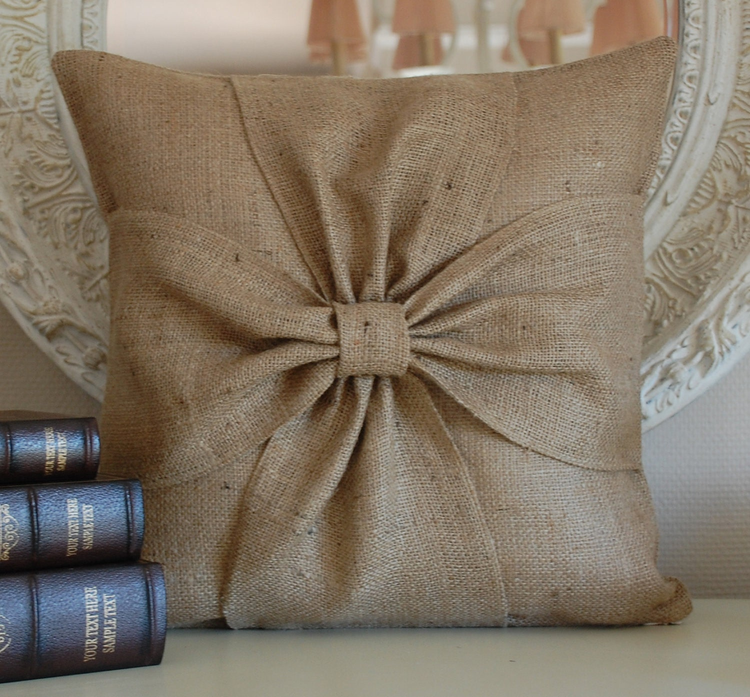 Burlap bow pillow cover by secdus on Etsy