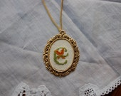 """Letter """"E"""" Needlepoint Initial Necklace"""