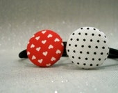 Hearts & Polka Dots - Set of 2 - Fabric Button Covered Hair Tie Ponytail Holders