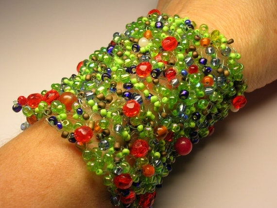 handknitted, bead bracelet/cuff by Justgill on Etsy